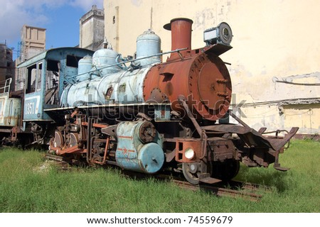 A rusting steam train engine in Central Havana, Cuba.