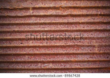 A rusty corrugated iron metal texture - stock photo