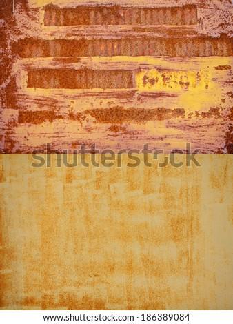 A rusty corrugated iron metal texture, Zinc wall - stock photo