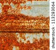 A rusty corrugated iron texture - stock photo
