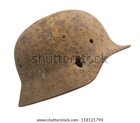 A rusty German World War Two (Stahlhelm M1940) military helmet. This particular example was retrieved from the Soviet Union many years after the war had ended.