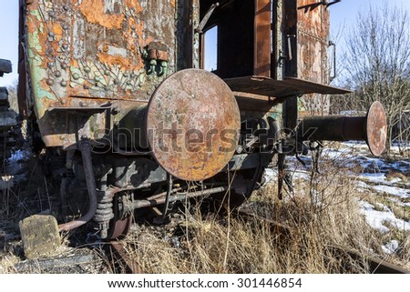 A rusty old railway wagon bumpers - stock photo