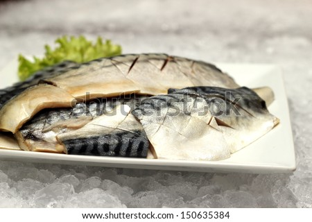 A saba fish on a white plate - stock photo