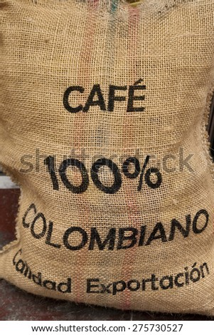 a sack full of coffee from colombia
