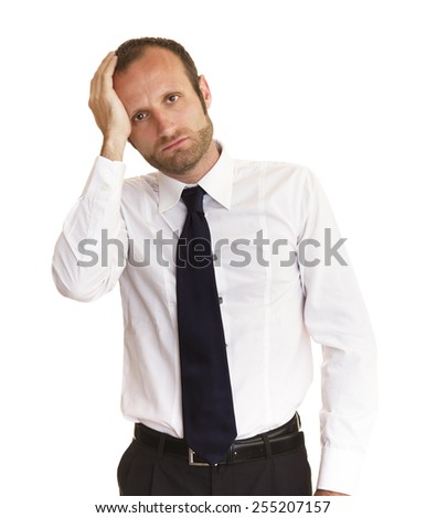 A sad and worried businessman; isolated on white, vertical size.