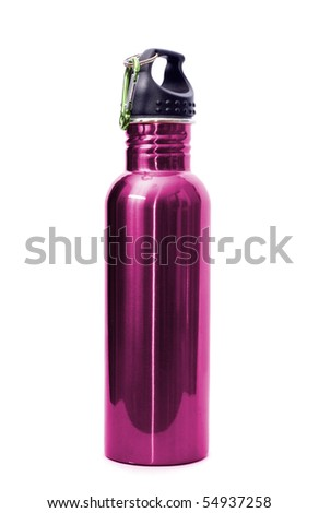 A safe, reusable, pink, stainless steel water bottle isolated on white background. - stock photo