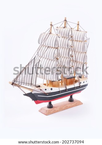 A sailboat classic model isolated on white background. slant version. - stock photo