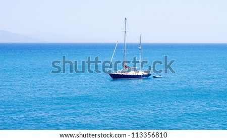 A sailing boat in blue sea, Greece