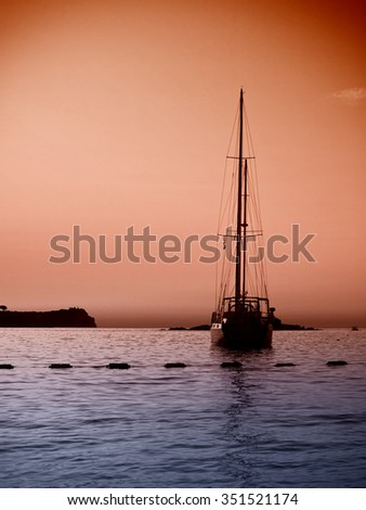 A sailing boat in front of a wonderful Adriatic Sunset