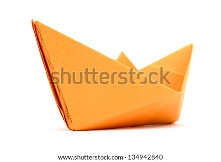 A sailing paper boat - stock photo