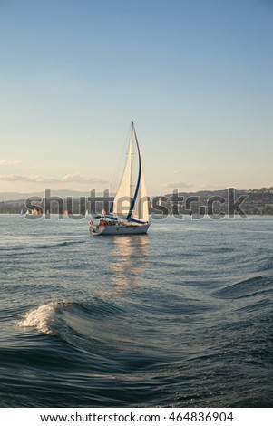 A sailing yacht on Leman lake in Switzerland