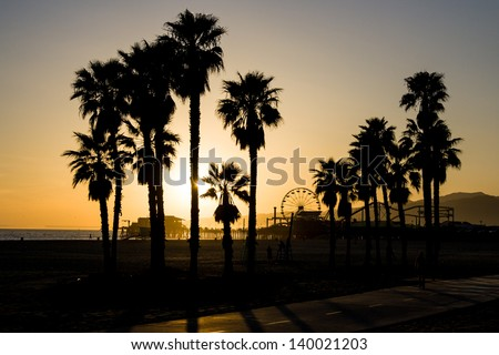 A Santa Monica sunset on a warm day in Los Angeles, California, USA