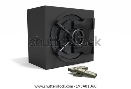 A save that is armored like a bank vault with loads of cash in front of it. - stock photo