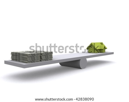 A scale with dollar and a 3d House - stock photo