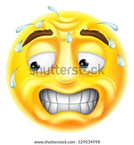 A scared, worried or embarrassed looking emji emoticon character  - stock photo
