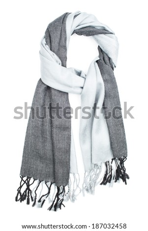 A scarf grey cotton with strakes, isolated on a white background - stock photo