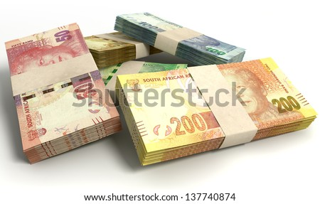 A scattered pile of bundled south african rand bank notes on an isolated background - stock photo