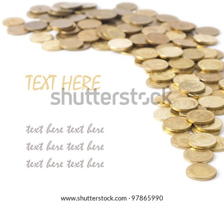 a scattering of coins isolated on white background - stock photo