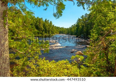 A scene of a river running from Cascade Falls in the Boundary Waters Canoe Area, in the remote North Woods of Northern Minnesota framed by green trees.
