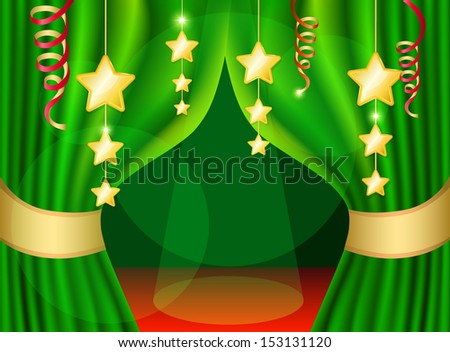 A scene with a green curtain and festive illuminations, background. Raster copy  - stock photo