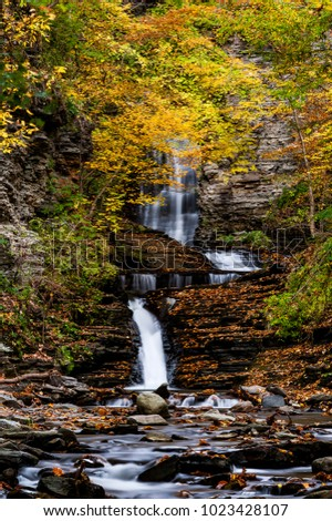 A scenic, autumn view of Deckertown Falls near Watkins Glen and Montour Falls, New York.