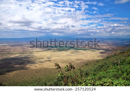 A scenic landscape of Ngorongoro Crater, Tanzania - stock photo