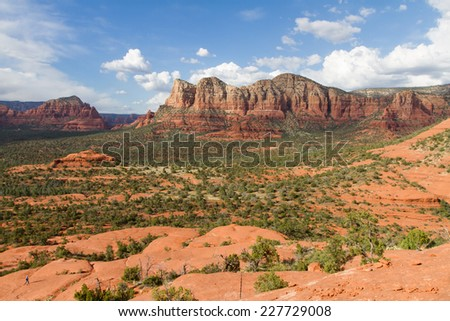 A scenic landscape view of the sandstone formation near Sedona in Arizona - stock photo