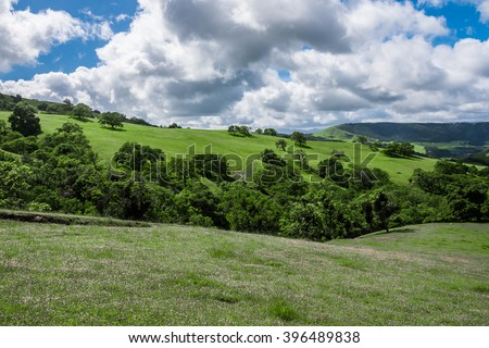 A scenic panoramic view of rolling grass covered hills with coastal live oak trees in Monterey, California, as with clearing clouds as a storm passes by. - stock photo