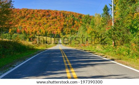 A scenic road in Quebec - stock photo