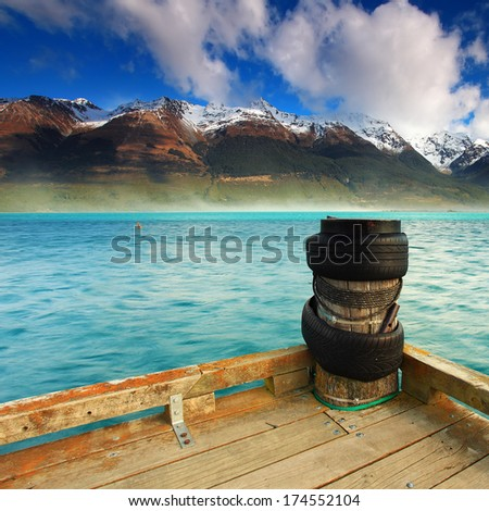 A scenic view at Glenorchy with Lake Wakatipu and mountains on the back, New Zealand - stock photo