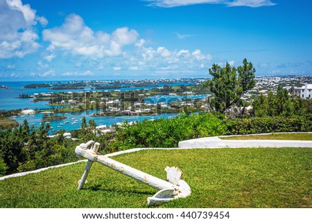 A scenic view from Gibbs Hill looking over Bermuda. - stock photo