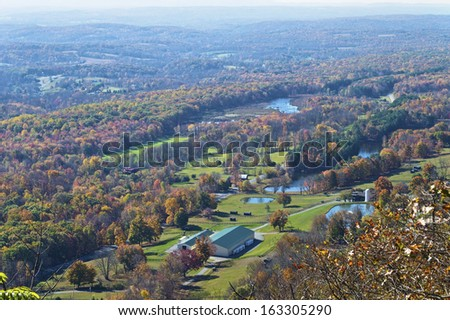 A scenic view from Sunrise Mountain along the Appalachian trail in Northern New Jersey. - stock photo