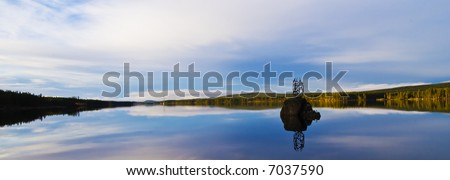 """A scenic view from the road """"sju alvar"""" in Lapland in the north of Sweden - stock photo"""