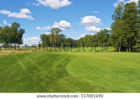 A scenic view of a public golf course, part of the Monmouth County Park System in New Jersey. - stock photo