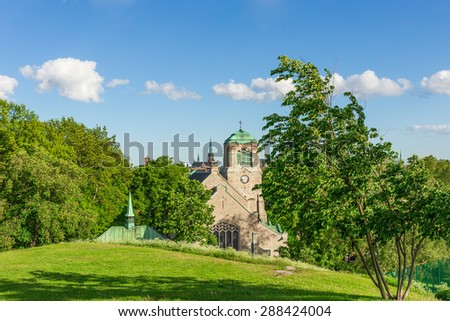 A Scenic View of an old Medieval Church in Stockholm Sweden