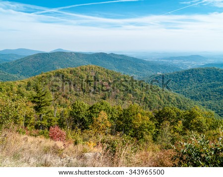 A scenic view of Shenandoah National Park in West Virginia. - stock photo