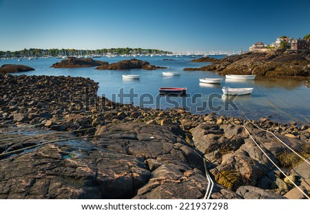 A scenic view of the beautiful town of Marblehead,Ma, USA - stock photo