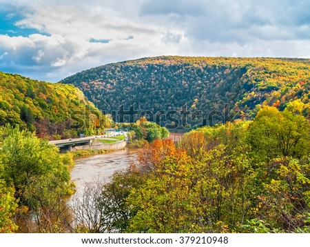 A scenic view of the Delaware Water Gap National Recreation Area between New Jersey and Pennsylvania. - stock photo