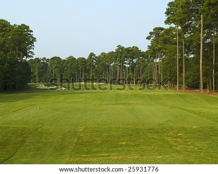 A scenic view of the first hole on this Myrtle Beach golf course. - stock photo