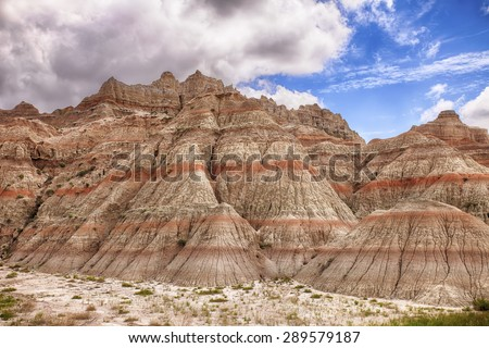 A scenic view showing the natural colors and the erosion in the hills of the Badlands National Park in South Dakota.