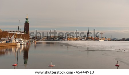 A scenic winter panorama of the swedish capital city of Stockholm - stock photo
