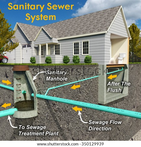 Schematic sectionview illustration contemporary sanitary for House sewer drainage system