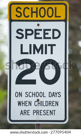 A school speed limit sign. - stock photo