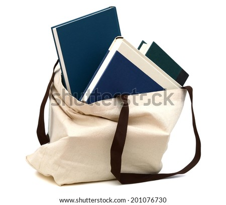 A school textbooks in a reused bag - stock photo