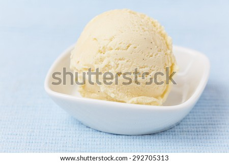 A scoop of homemade vanilla ice cream in a bowl