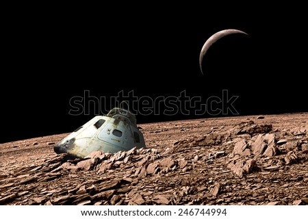 A scorched space capsule lies abandoned on a barren and airless moon. - Elements of this image furnished by NASA. - stock photo