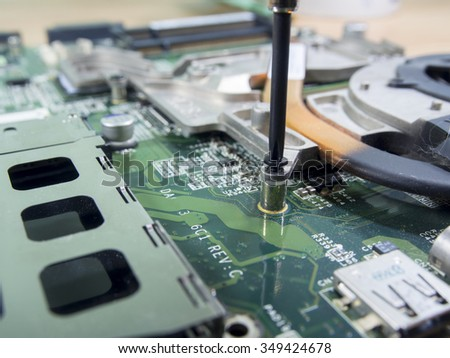 a screwdriver is installing or repairing computer components,fixing computer,fix computer - stock photo
