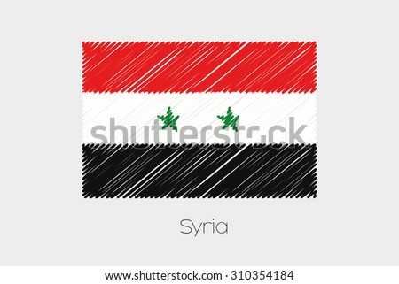 A Scribbled Flag Illustration of the country of Syria - stock photo