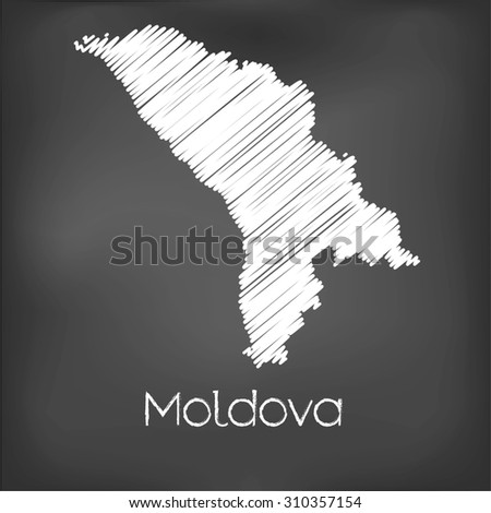 A Scribbled Map of the country of Moldova