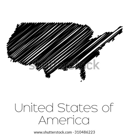 A Scribbled Map of the country of  United States of America